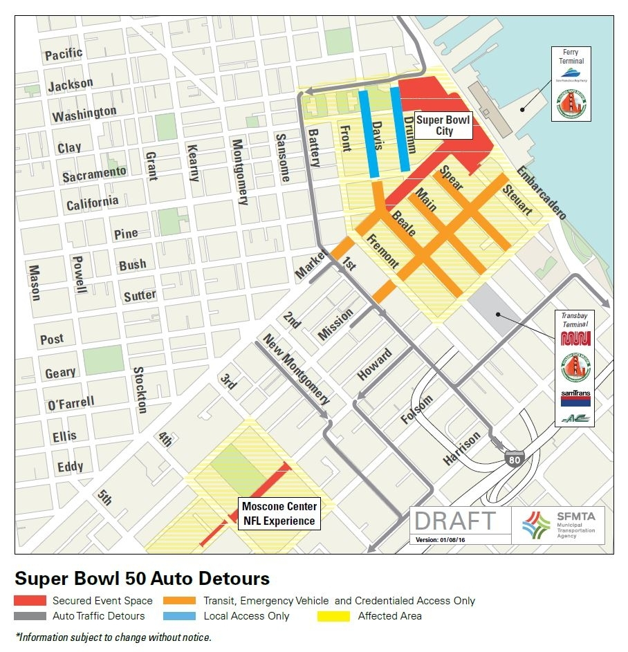 Super Bowl 50: Street Closures Coming To Downtown & Soma | Sfmta with Super Bowl Road Map