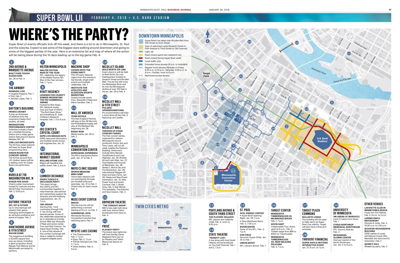 Super Bowl 52 Part 1 Event Map - Newspagedesigner regarding Super Bowl Experience Map