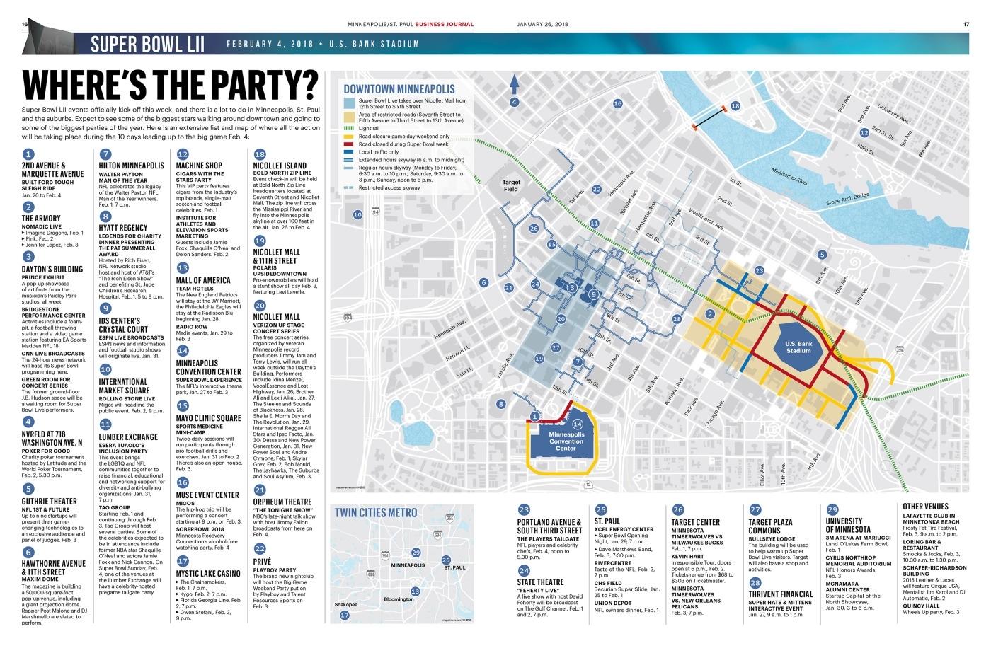 Super Bowl 52 Part 1 Event Map - Newspagedesigner regarding Super Bowl Experience Map