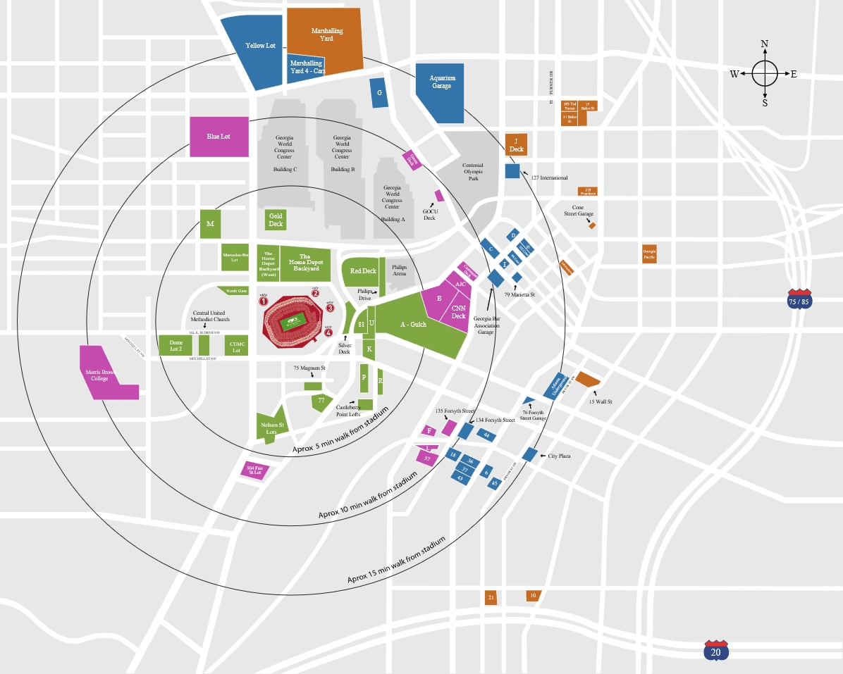 Super Bowl 53 Parking Guide | Mercedes-Benz Stadium 2019 pertaining to Super Bowl 2019 Stadium Map