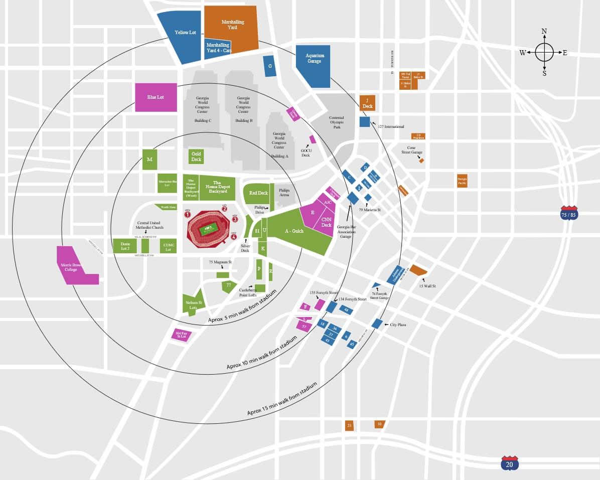 Super Bowl 53 Parking Guide | Mercedes-Benz Stadium 2019 regarding Super Bowl 53 Map