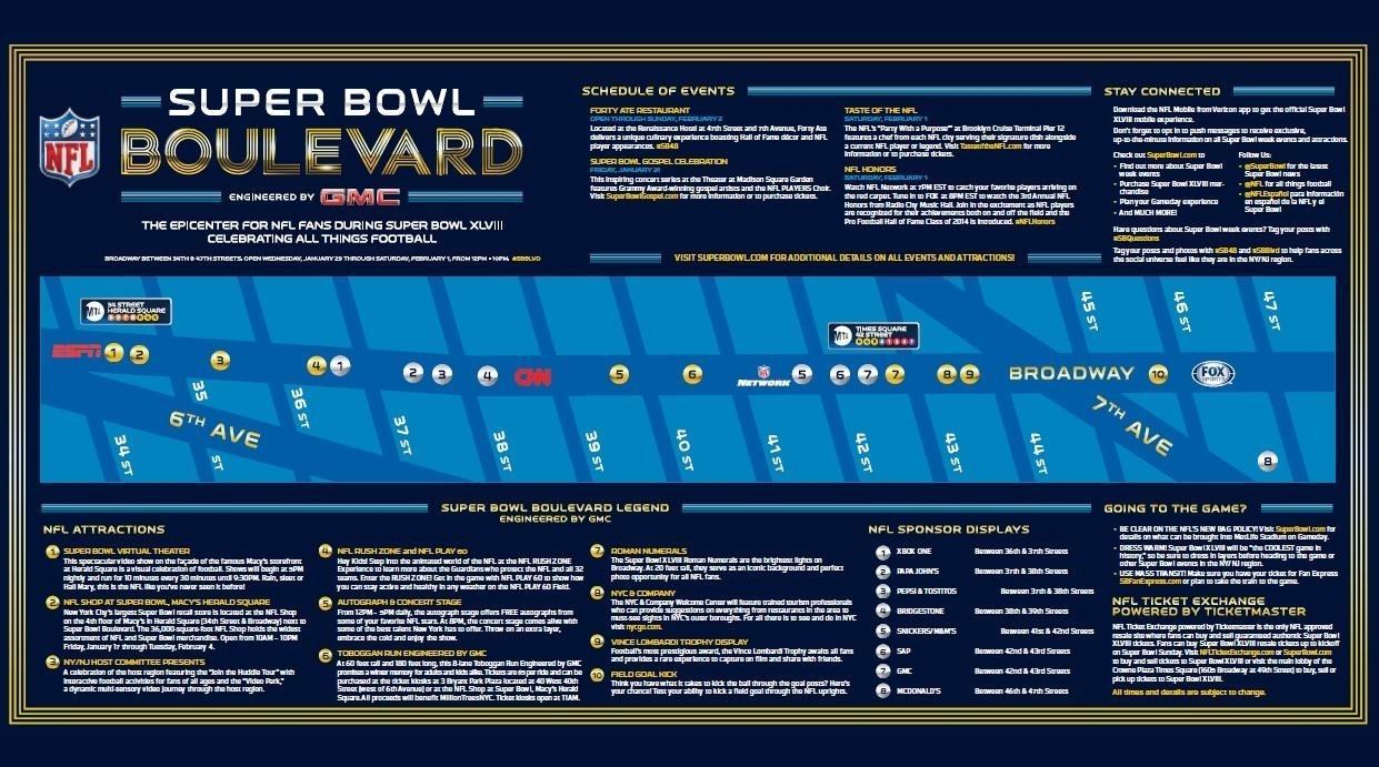 Super Bowl Boulevard' Times Square: Events, Map And Your inside Super Bowl Game Day Map