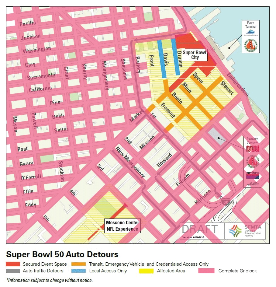 Super Bowl City Reality For 3 Weeks (Jan 23-Feb 8 in Super Bowl Traffic Map
