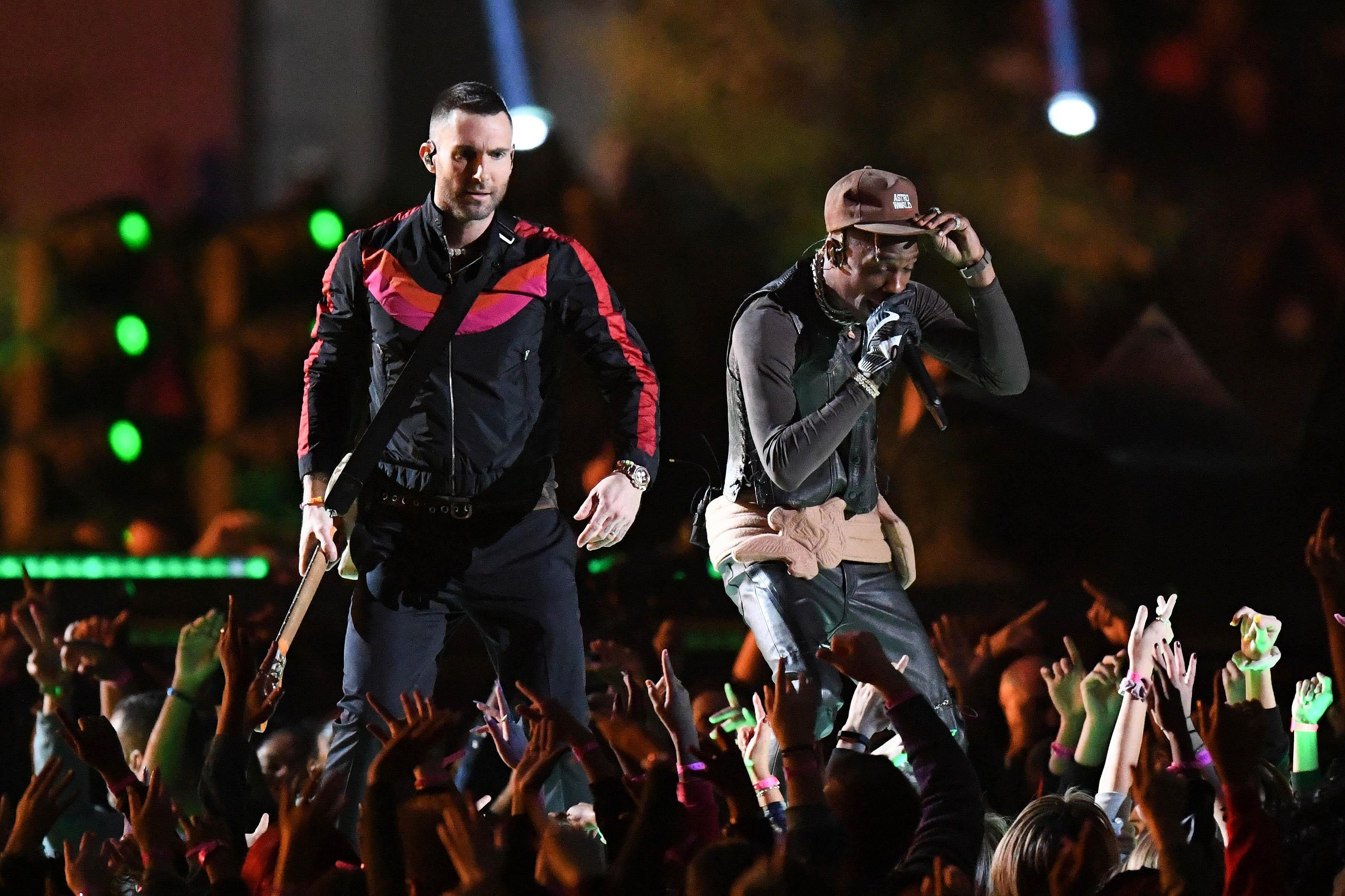 Super Bowl Halftime Show – Maroon 5 And Shirtless Adam with regard to Maroon 5 Travis Scott