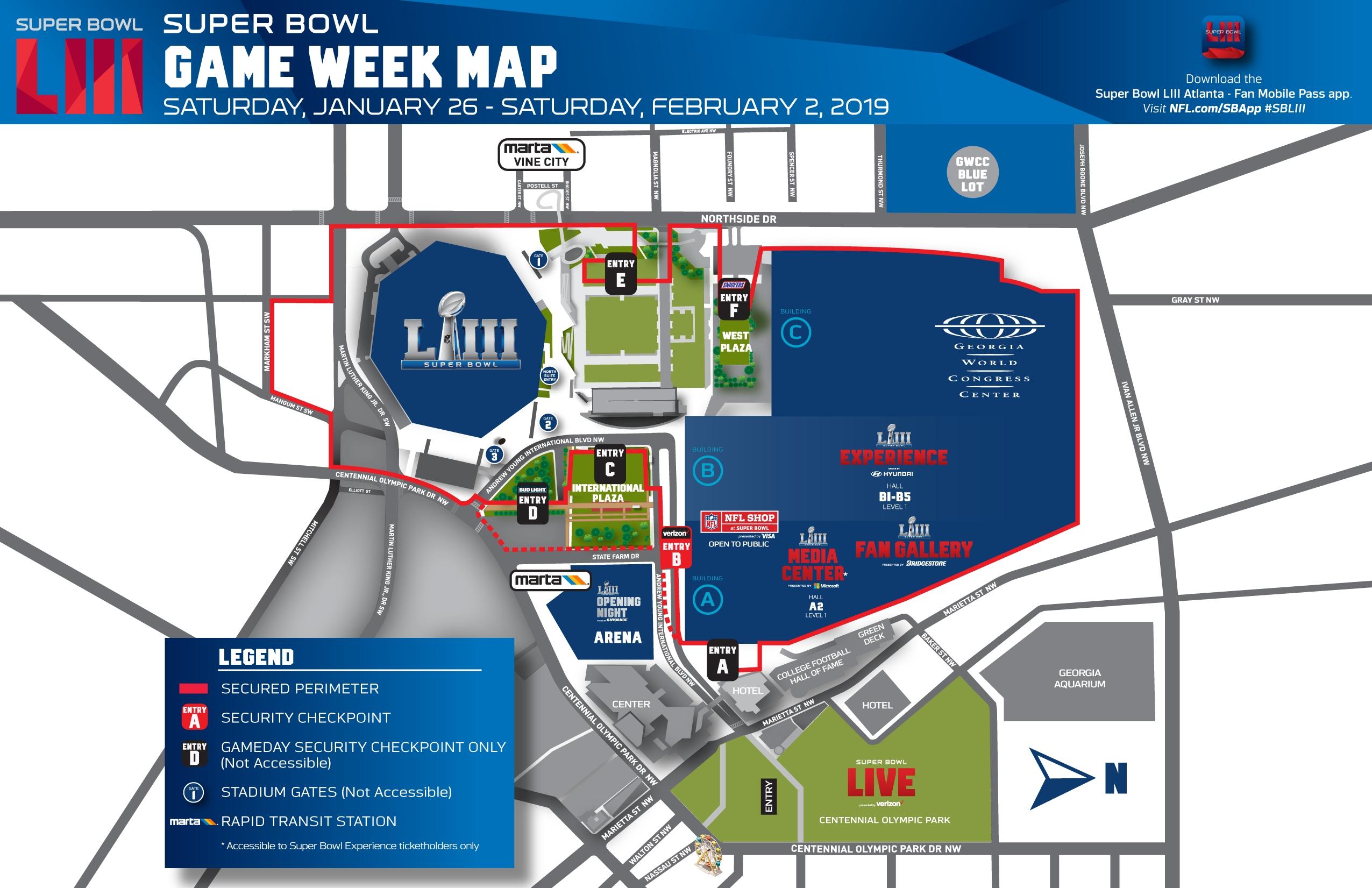 Super Bowl Hub - Mercedes Benz Stadium pertaining to Super Bowl Liii Fan Map
