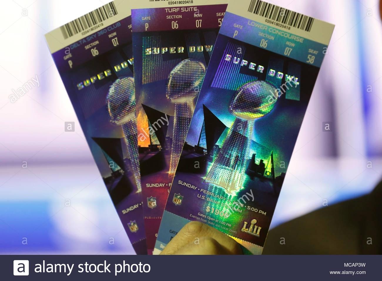 Super Bowl Lii Tickets Stockfotos & Super Bowl Lii Tickets for Super Bowl Tickets 2018