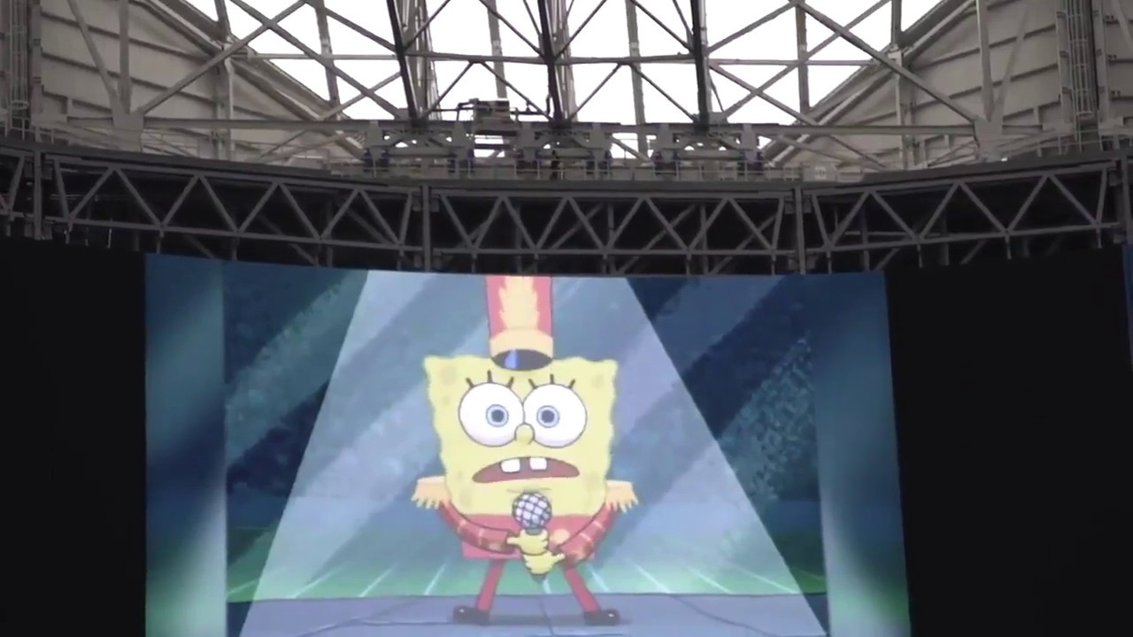 "Super Bowl Liii 2019: Spongebob ""sweet Victory"" Tribute Rehearsal At  Mercedes-Benz Stadium within Spongebob Super Bowl Sweet Victory"
