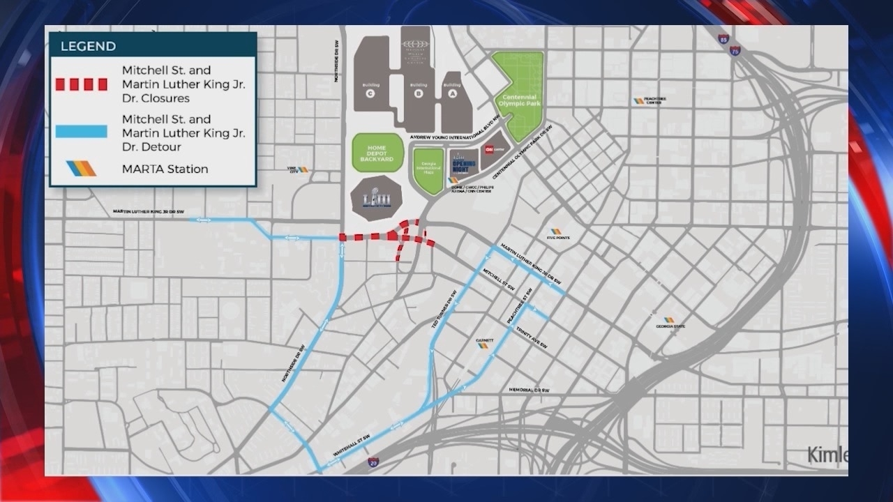 Super Bowl Liii Road Closures In Atlanta - Story | Waga with regard to Map Of Super Bowl Road Closures