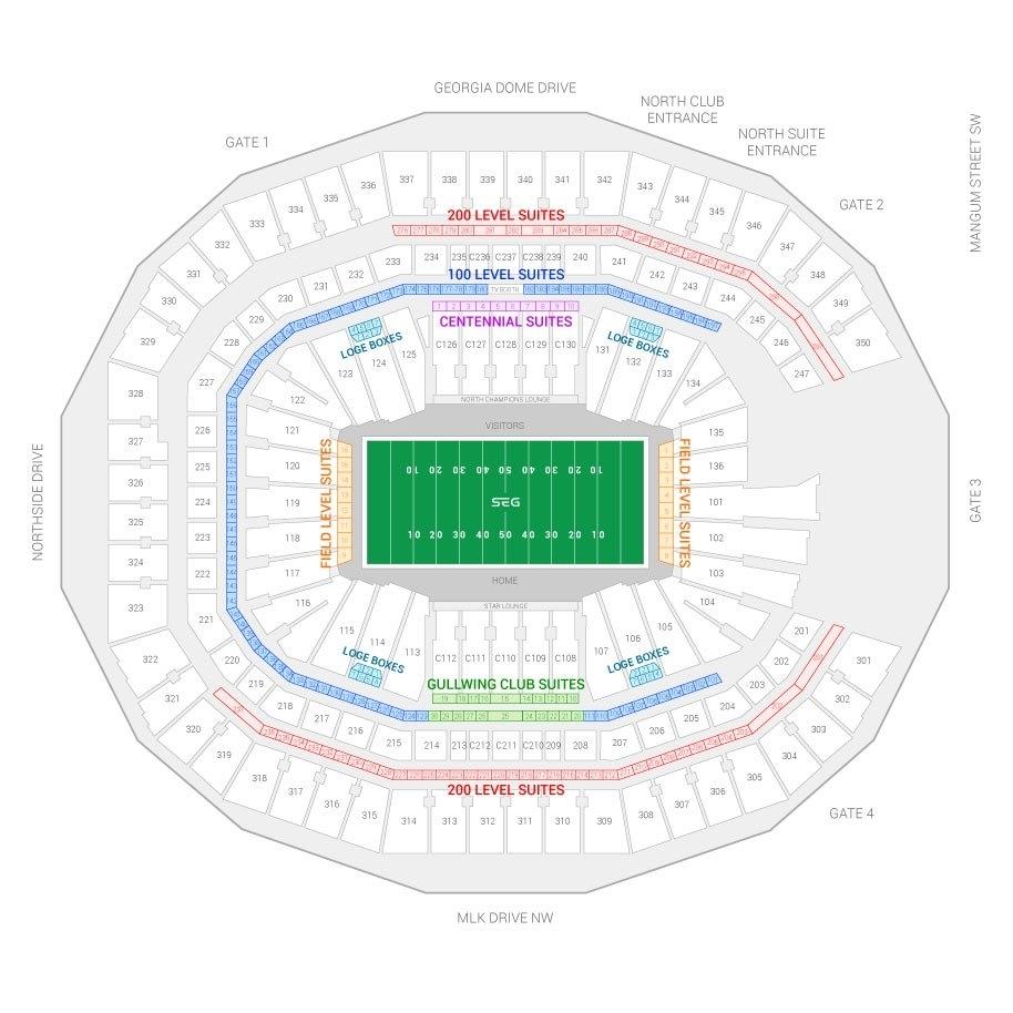 Super Bowl Liii Suite Rentals   Mercedes-Benz Stadium pertaining to Super Bowl Stadium 2019 Seating Chart