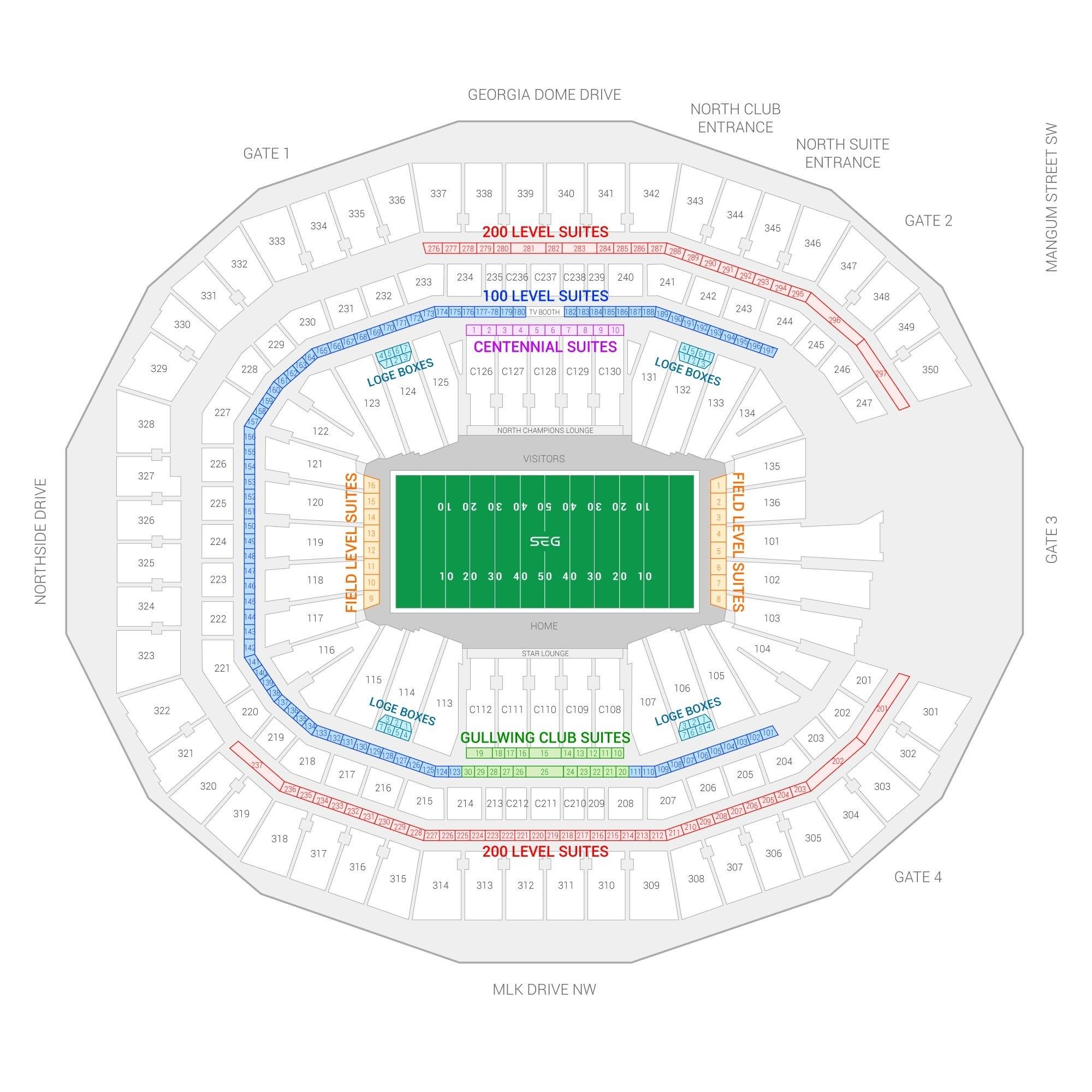 Super Bowl Liii Suite Rentals | Mercedes-Benz Stadium regarding Super Bowl 53 Map