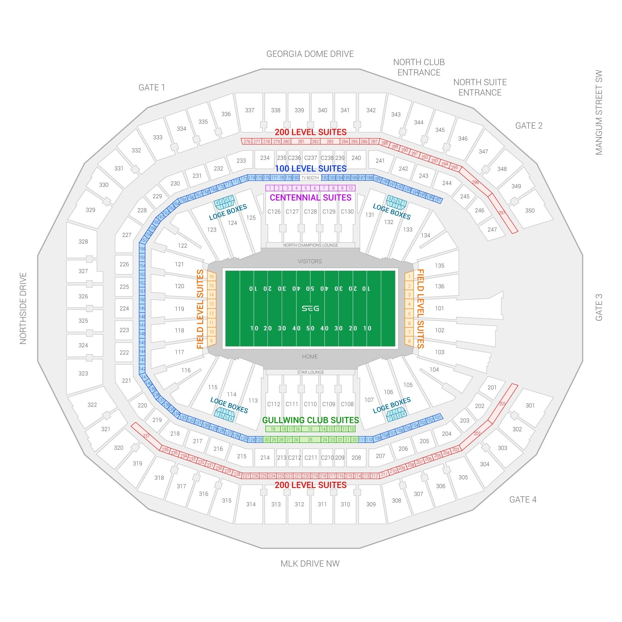 Super Bowl Liii Suite Rentals | Mercedes-Benz Stadium within Super Bowl Stadium Seating Chart