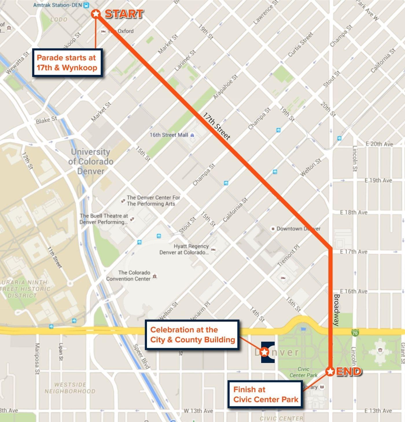 Super Bowl Parade 2016 Map And Route For Denver Broncos with regard to Super Bowl Parade Map