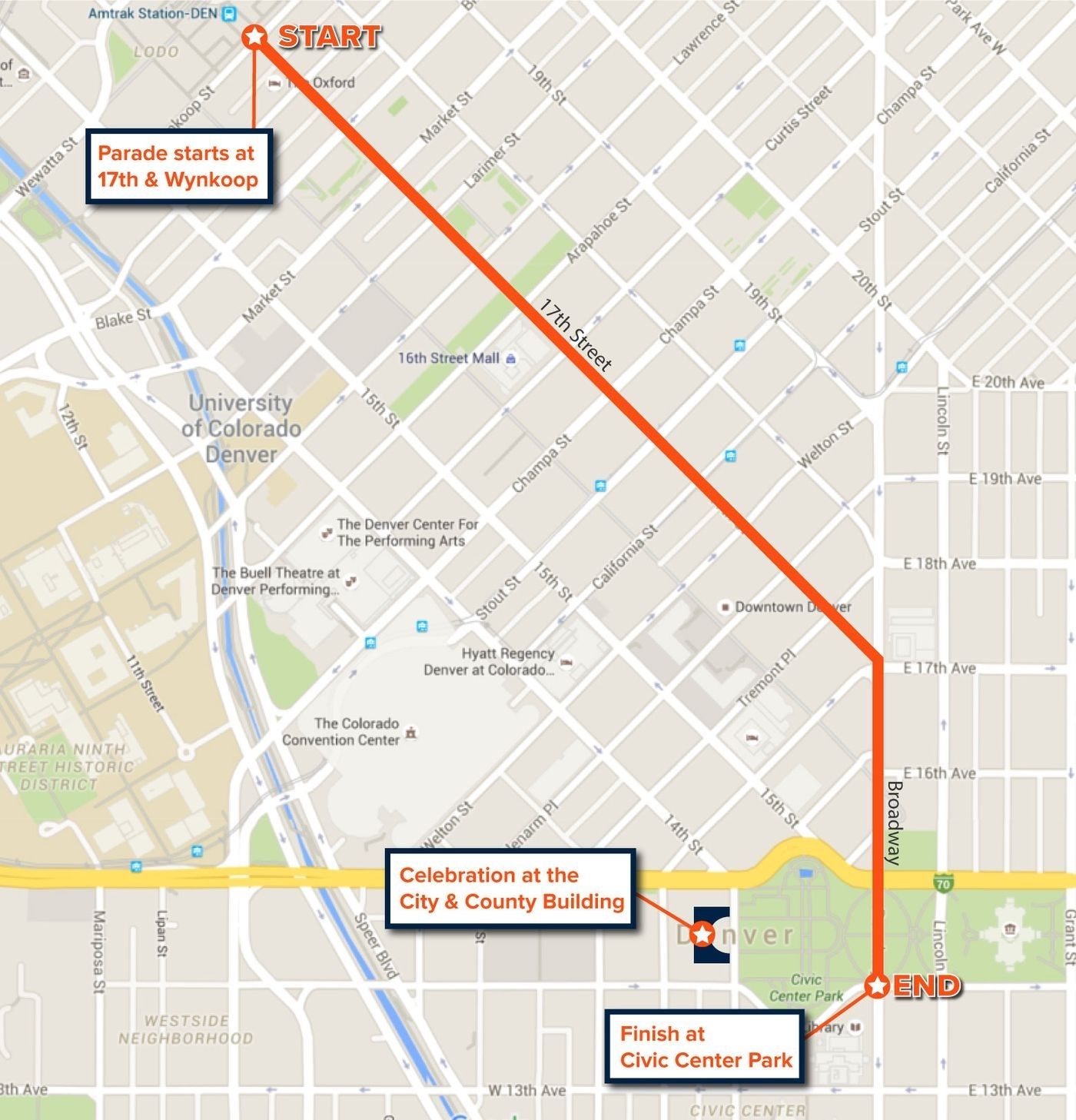 Super Bowl Parade 2016 Map And Route For Denver Broncos within Super Bowl Parade 2019 Map