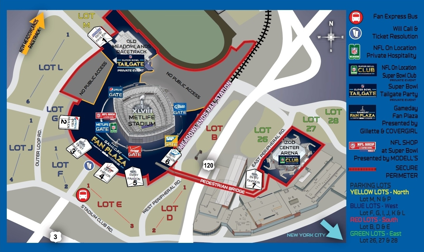 Super Bowl Public Safety Rules - Travel & Stadium Access for Super Bowl Game Day Map
