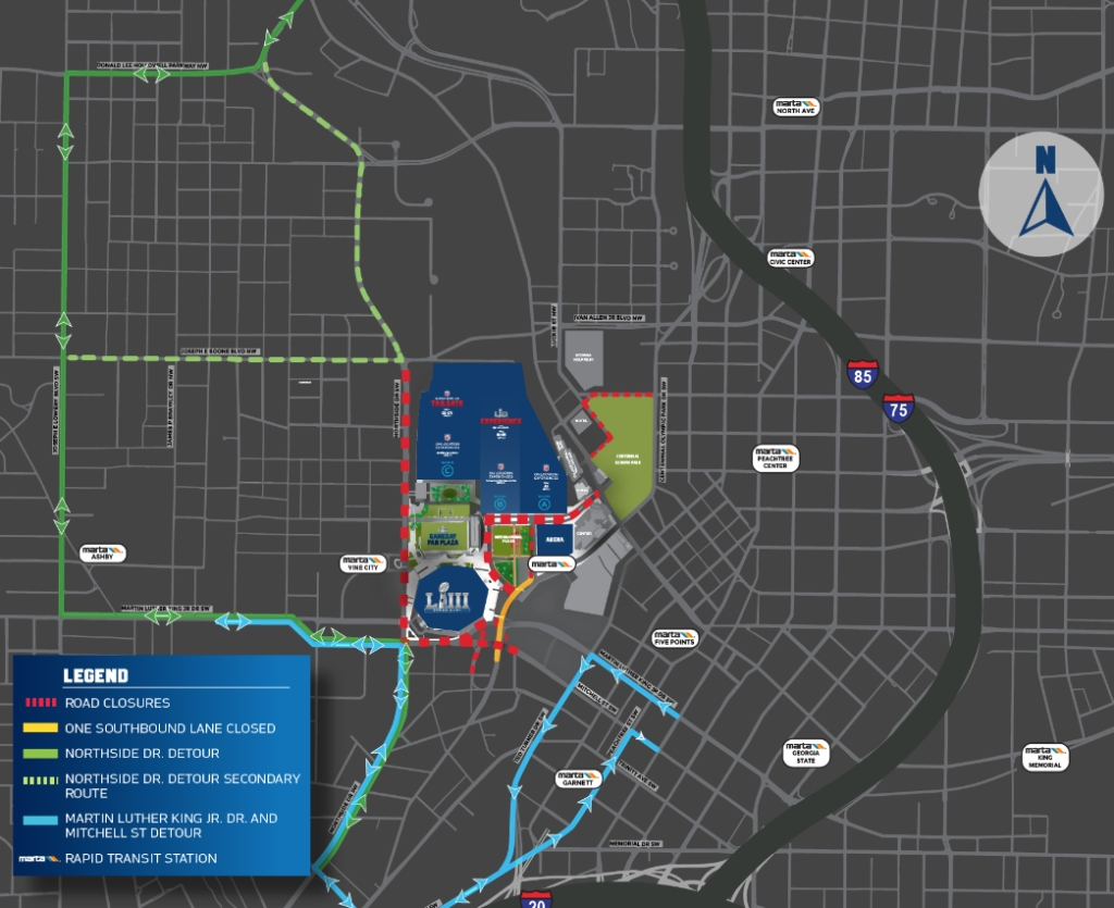Super Bowl-Related Road Closures Start Monday, Jan. 21 - The for Super Bowl Map Atlanta