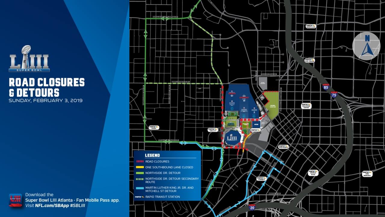 Super Bowl Road Closures: These Atlanta Streets Will Be regarding Super Bowl Road Closures Map