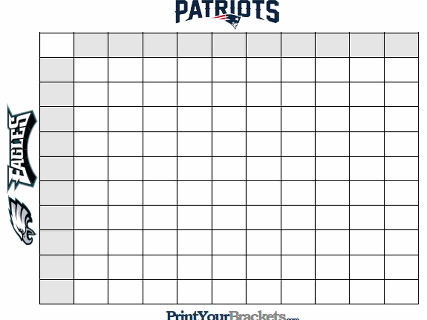 Super Bowl Squares Template, How To Play Online, And More for Super Bowl Box Layout