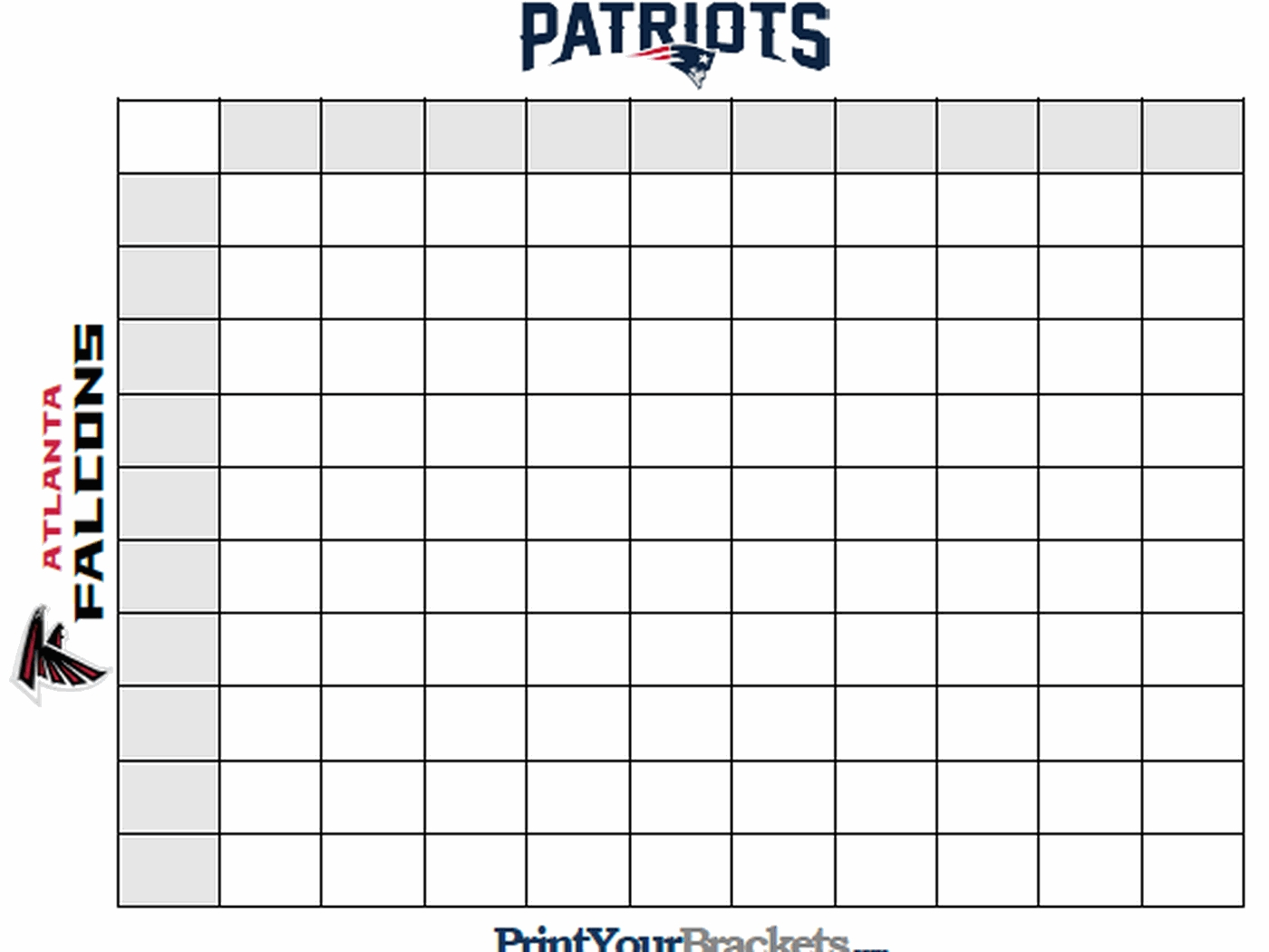 Super Bowl Squares Template, How To Play Online, And More in Super Bowl Pool Layout