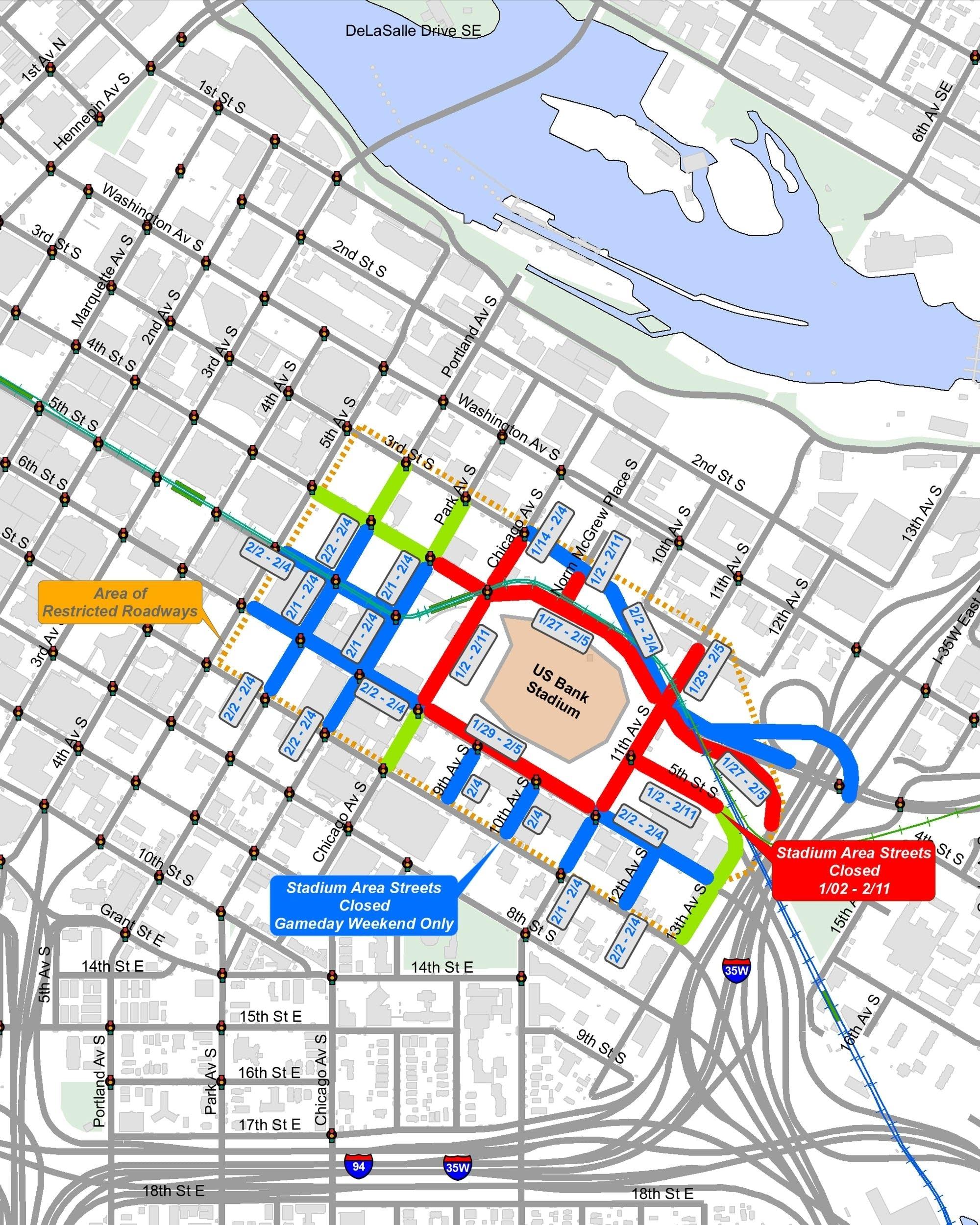 Super Bowl Street Closures Begin In Minneapolis | Mpr News in Super Bowl Road Closures Map