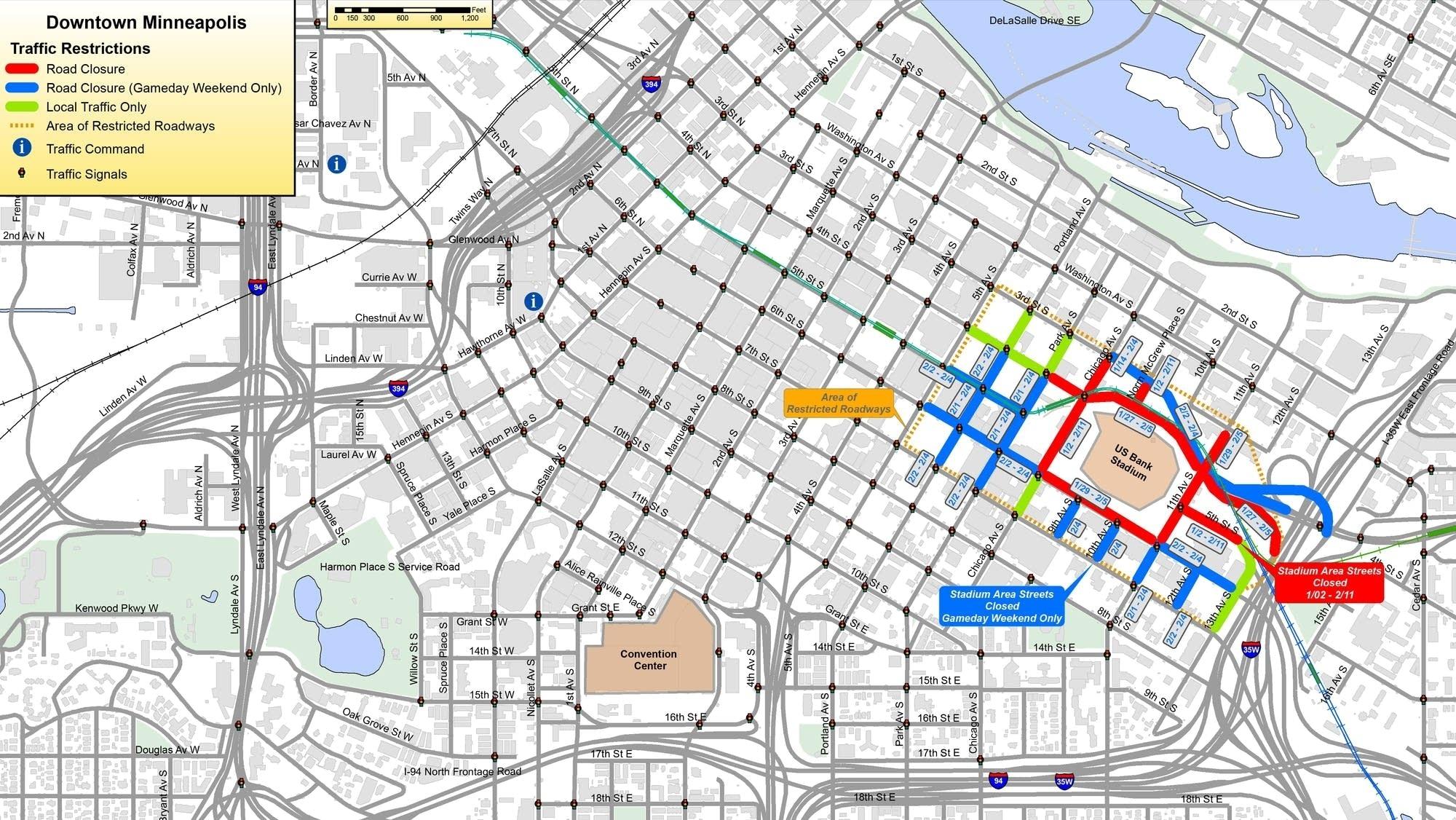 Super Bowl Street Closures Begin In Minneapolis | Mpr News regarding Super Bowl Traffic Map