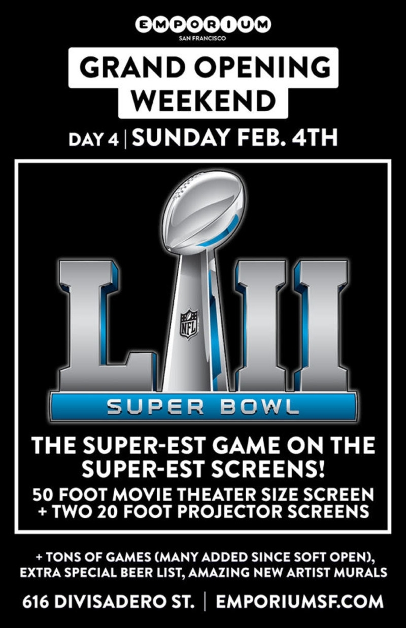 Super Bowl Sunday At Emporium Sf throughout Super Bowl Sunday 2018
