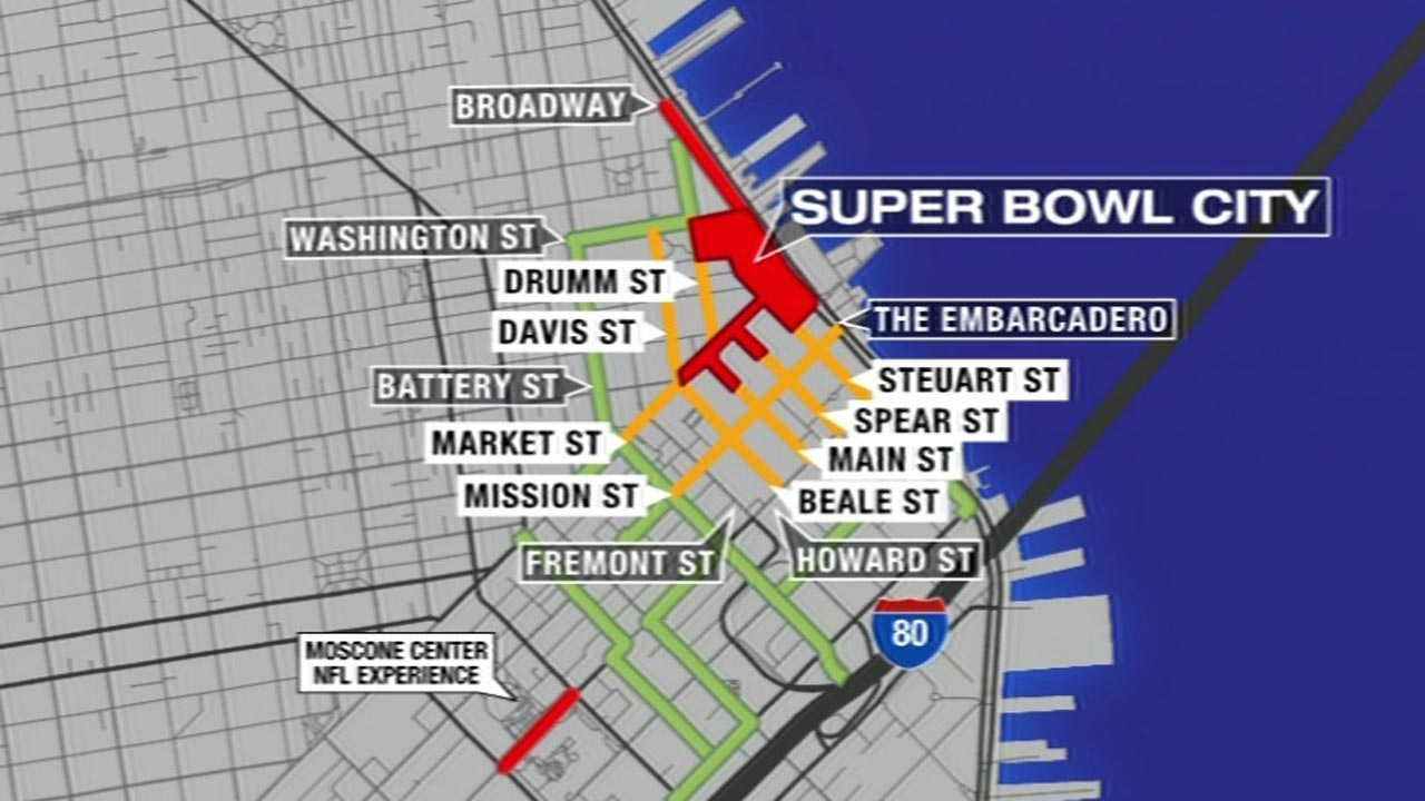 Super Bowl Traffic And Transit Resources | Abc7News in Map Of Super Bowl Road Closures