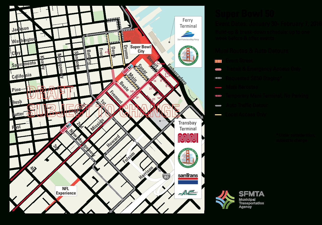 Super Bowl Transportation Plan Play-By-Play | Sfmta with regard to Super Bowl Traffic Map
