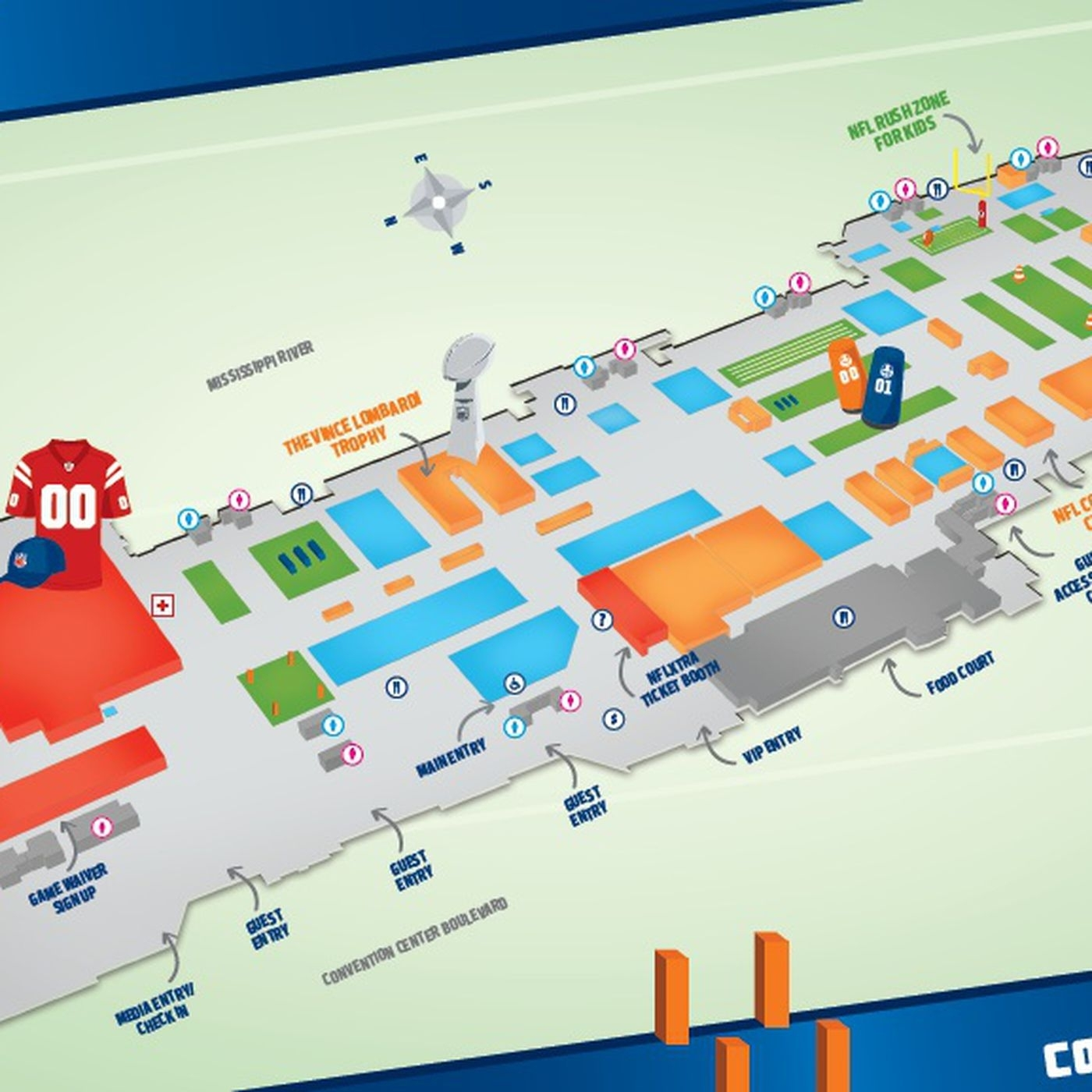 Super Bowl Xlvii: Nfl Experience Map And Attractions - Canal intended for Nfl Super Bowl Map