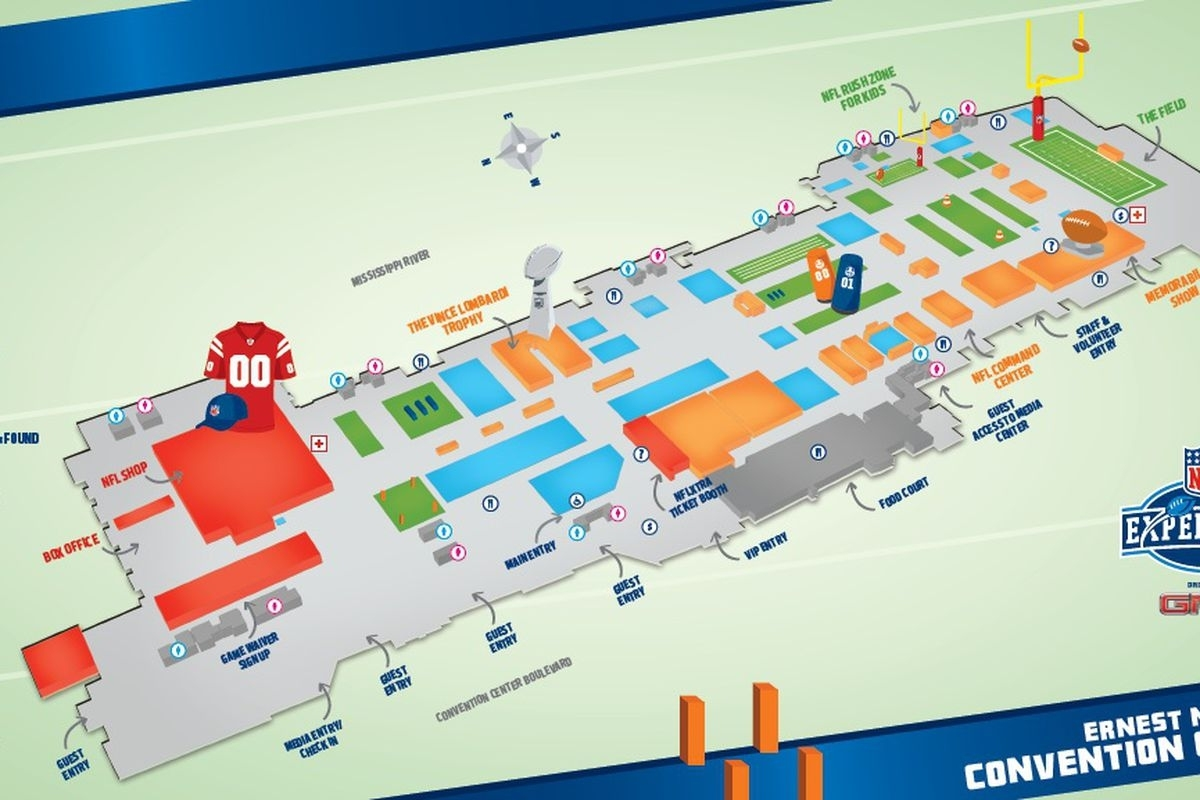 Super Bowl Xlvii: Nfl Experience Map And Attractions - Canal regarding Super Bowl Cheering Map