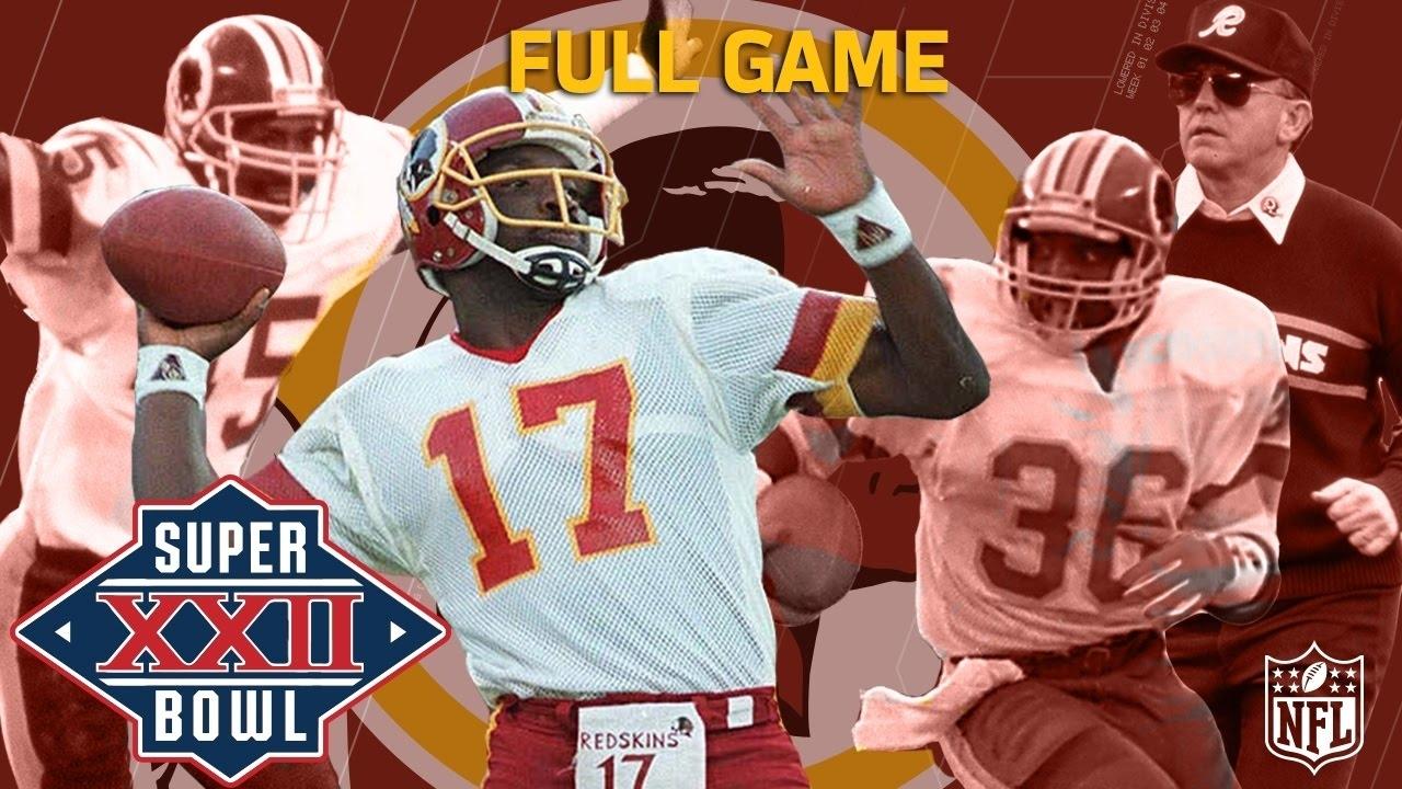 Super Bowl Xxii: Doug Williams Defeats John Elway | Redskins Vs. Broncos |  Nfl Full Game for Washington Redskins Nfl Championships 1992