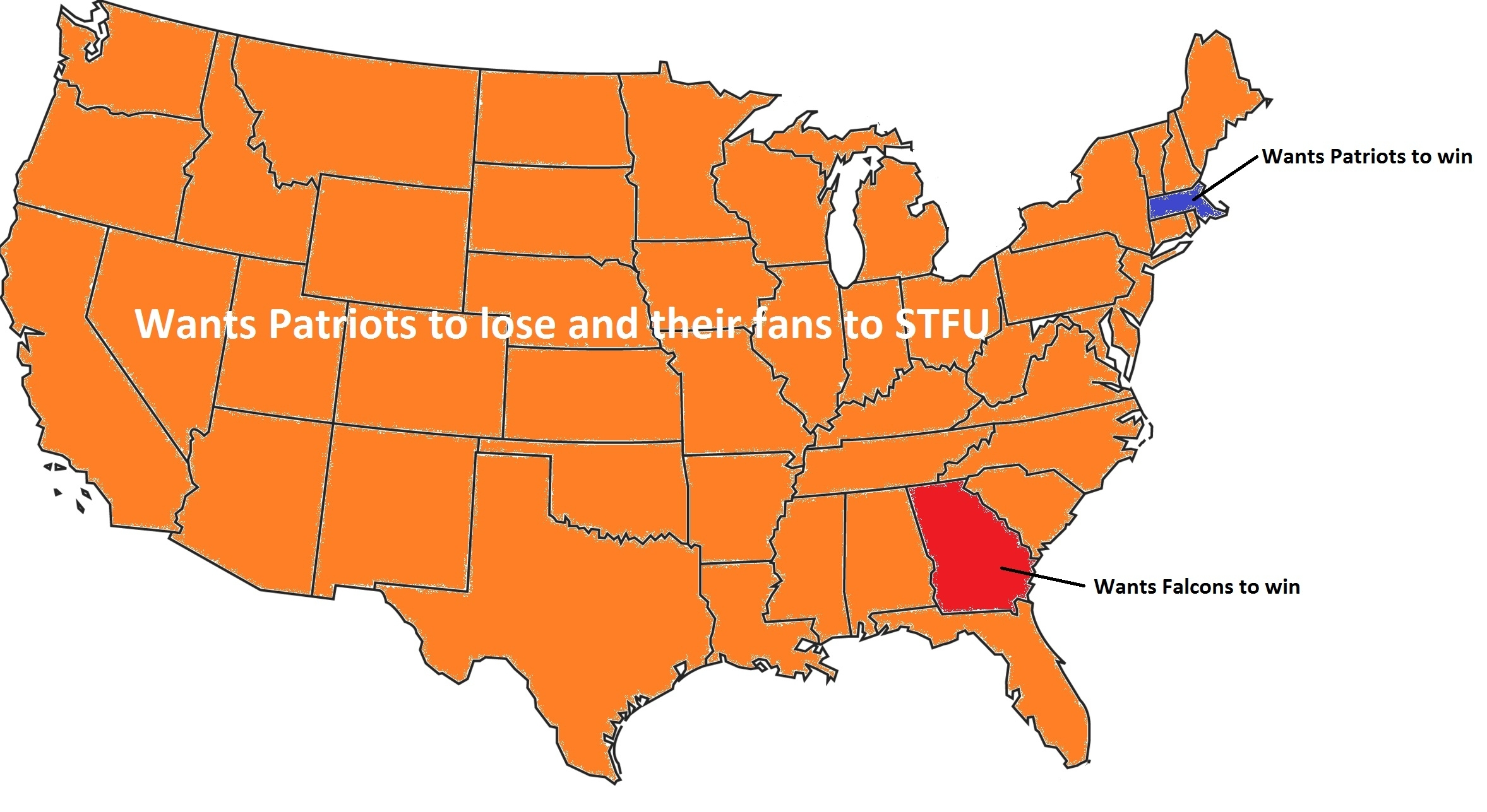 Superbowl Map - Imgur pertaining to Map Of Who Is Rooting For Super Bowl