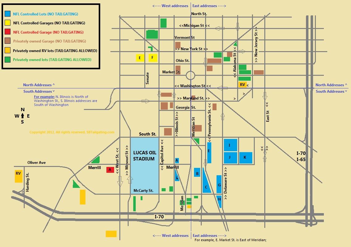 Tailgating & Parking Map Super Bowl Xlvi within Super Bowl Parking Map