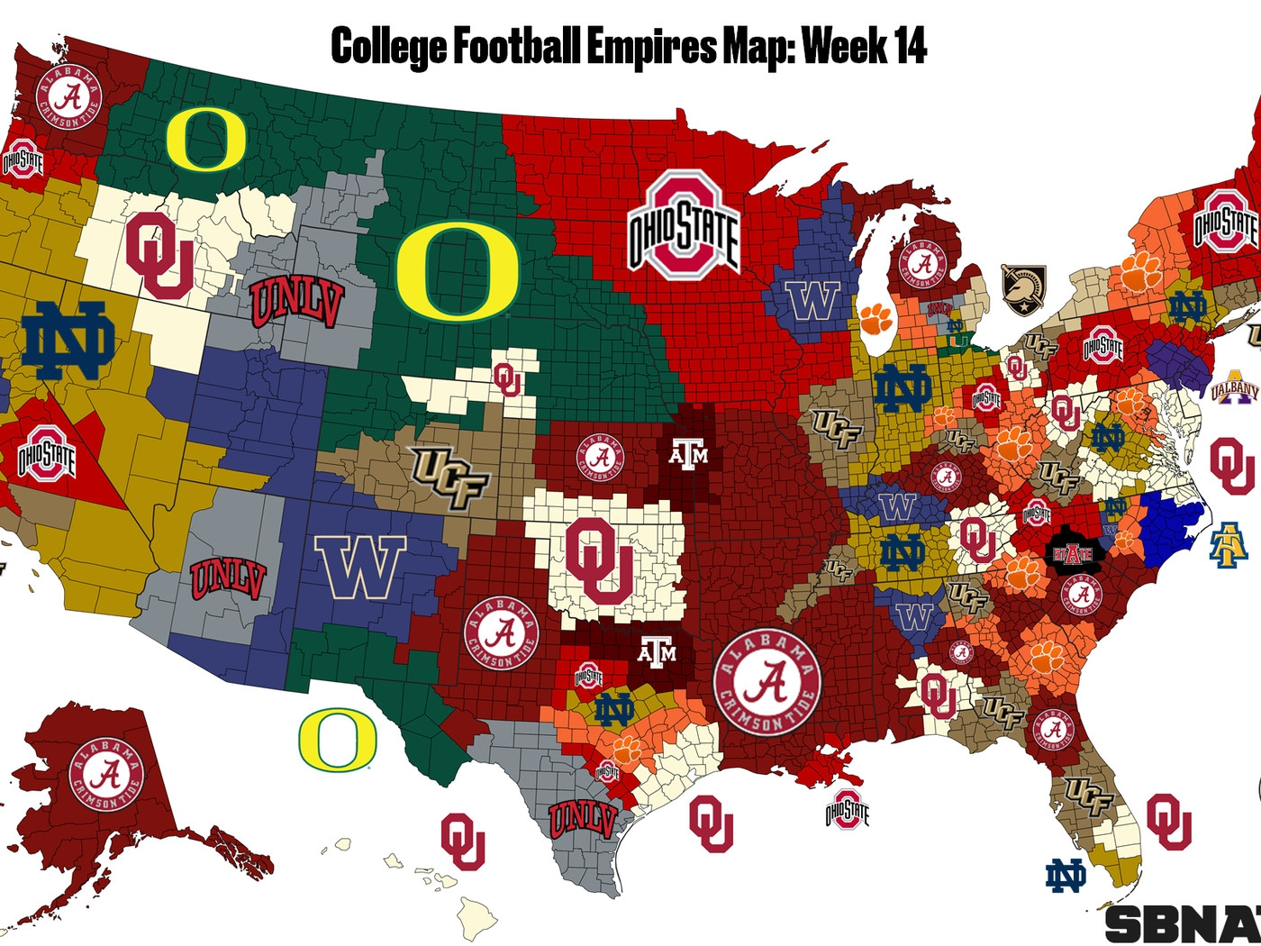 The College Football Empires Map Entering Bowl Season throughout Map Of Super Bowl Wins By Country