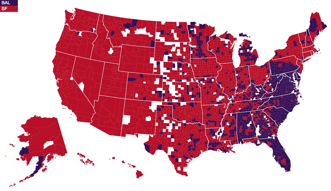 The Crimson Cavalier: The Definitive Nfl Fan Base Map (Loljets) pertaining to Super Bowl Fan Map