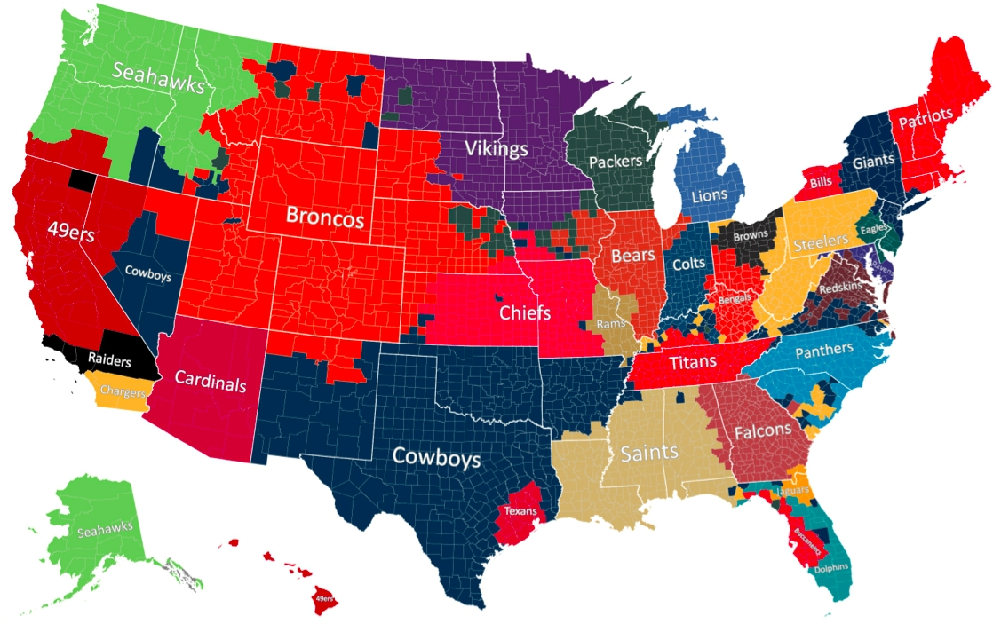 The Geography Of Nfl Fandom - The Atlantic in Map Of Patriots Fans For Super Bowl
