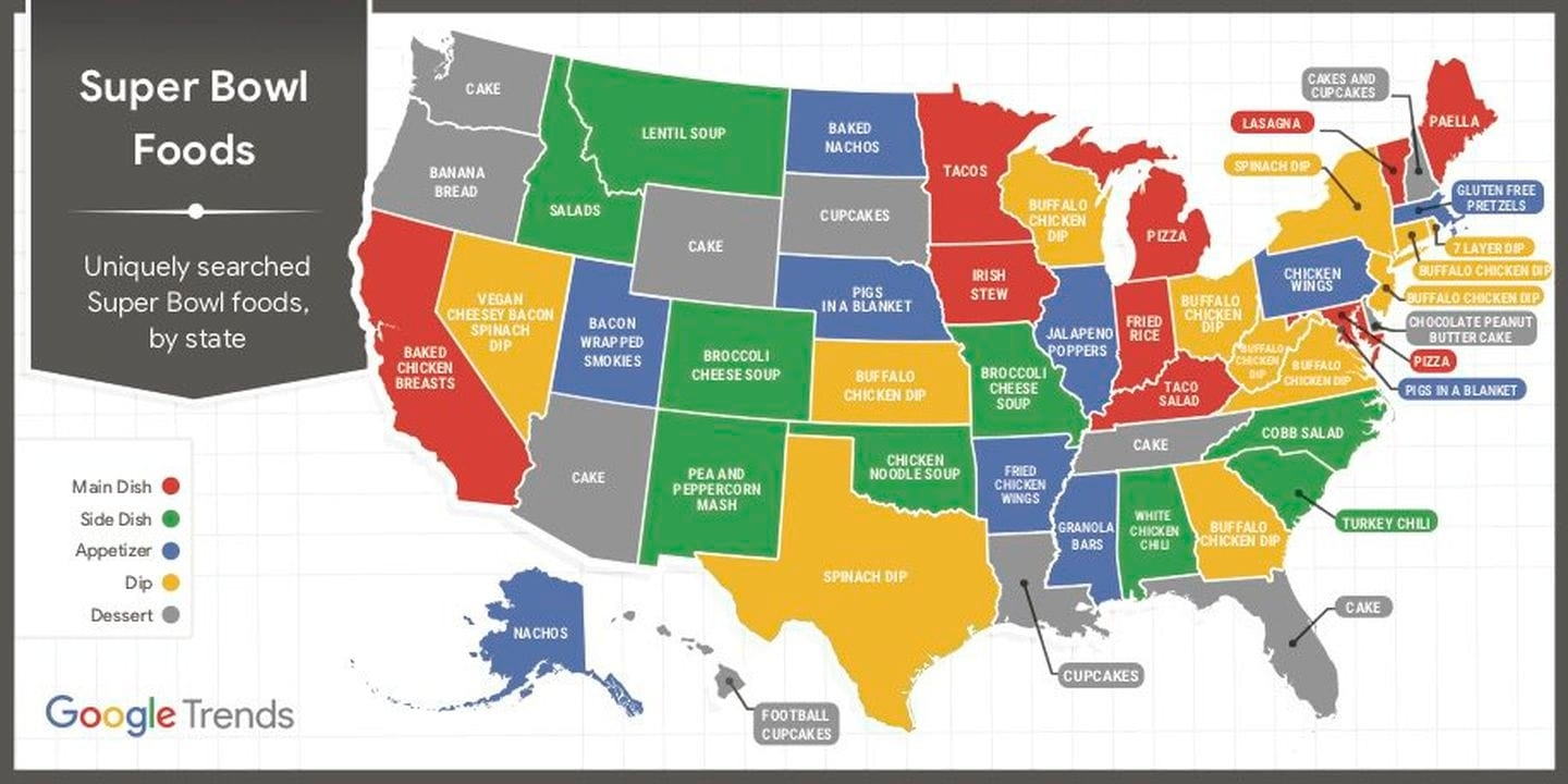 The Most Popular Super Bowl Snack In Each State - The pertaining to Super Bowl Snack Map