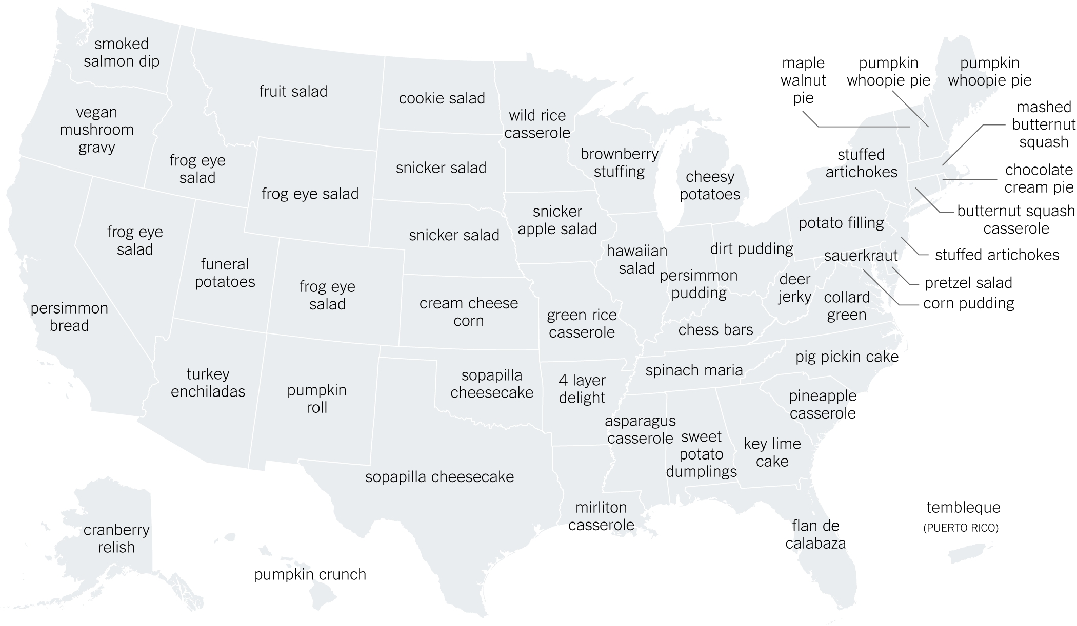 The Thanksgiving Recipes Googled In Every State - The New regarding Google Super Bowl Food Map