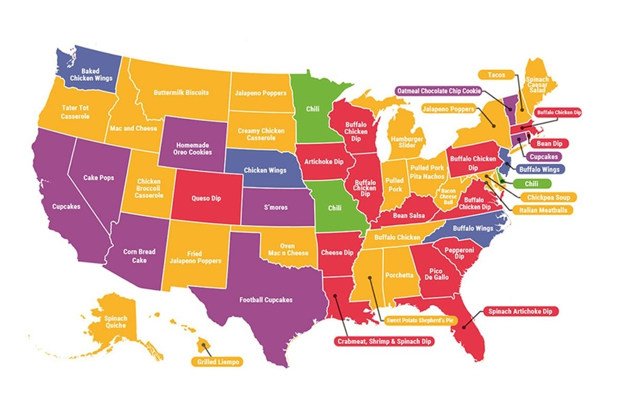 The Top-Searched Super Bowl Recipesstate - Eater throughout Map Of Super Bowl Foods