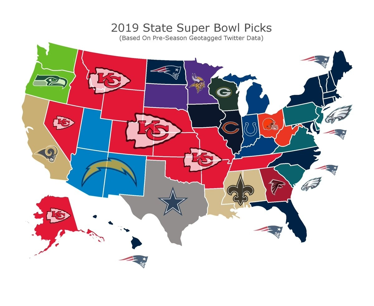 "Thescore On Twitter: ""twitter Map Shows Patriots, Chiefs Are intended for Super Bowl Support Map"