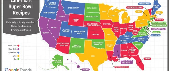 These Google Trends Maps About What People Eat During The with regard to Super Bowl State Map