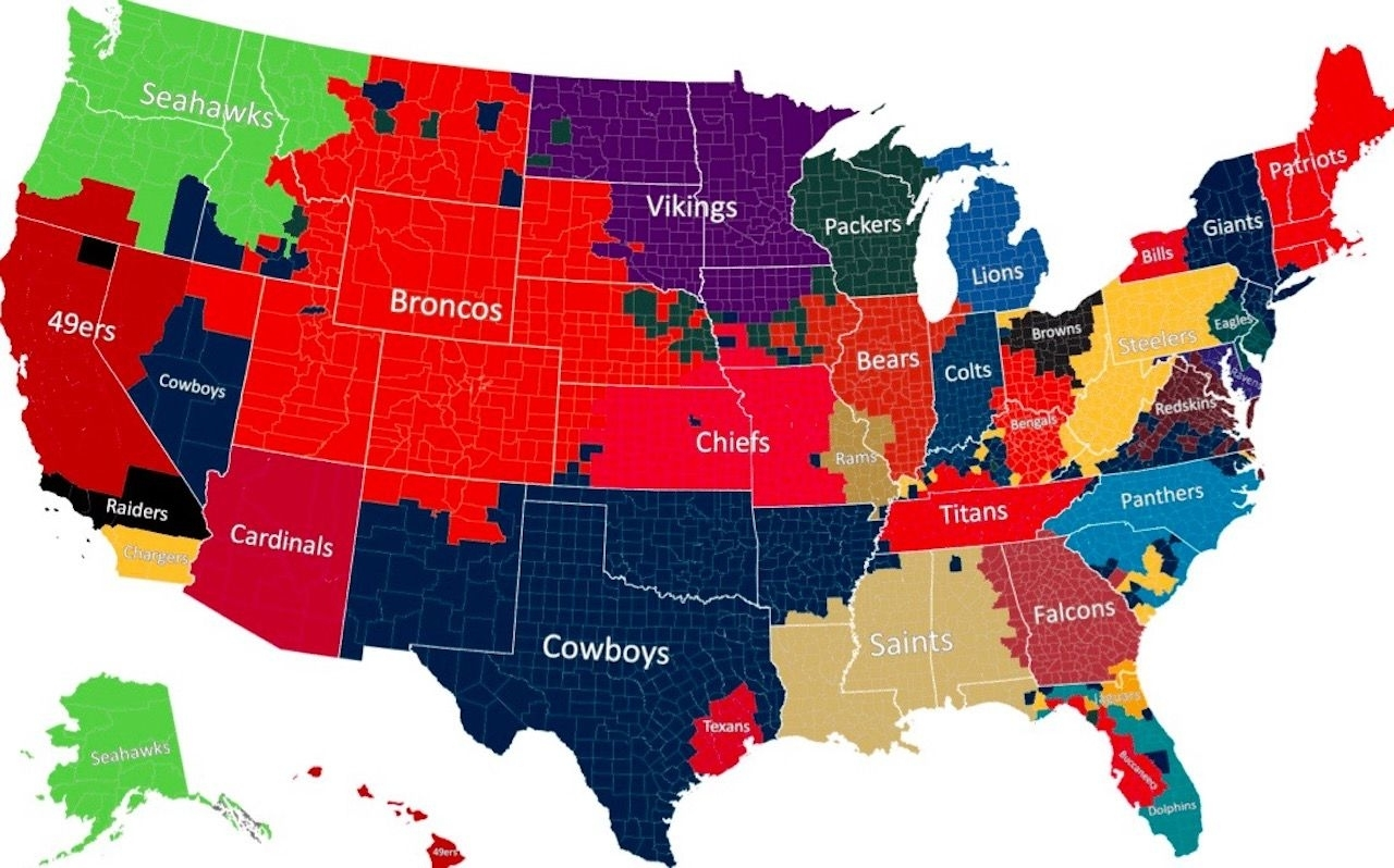 This Is Where You Can Find Your Fellow Nfl Team Fans in Super Bowl Fan Map 2019