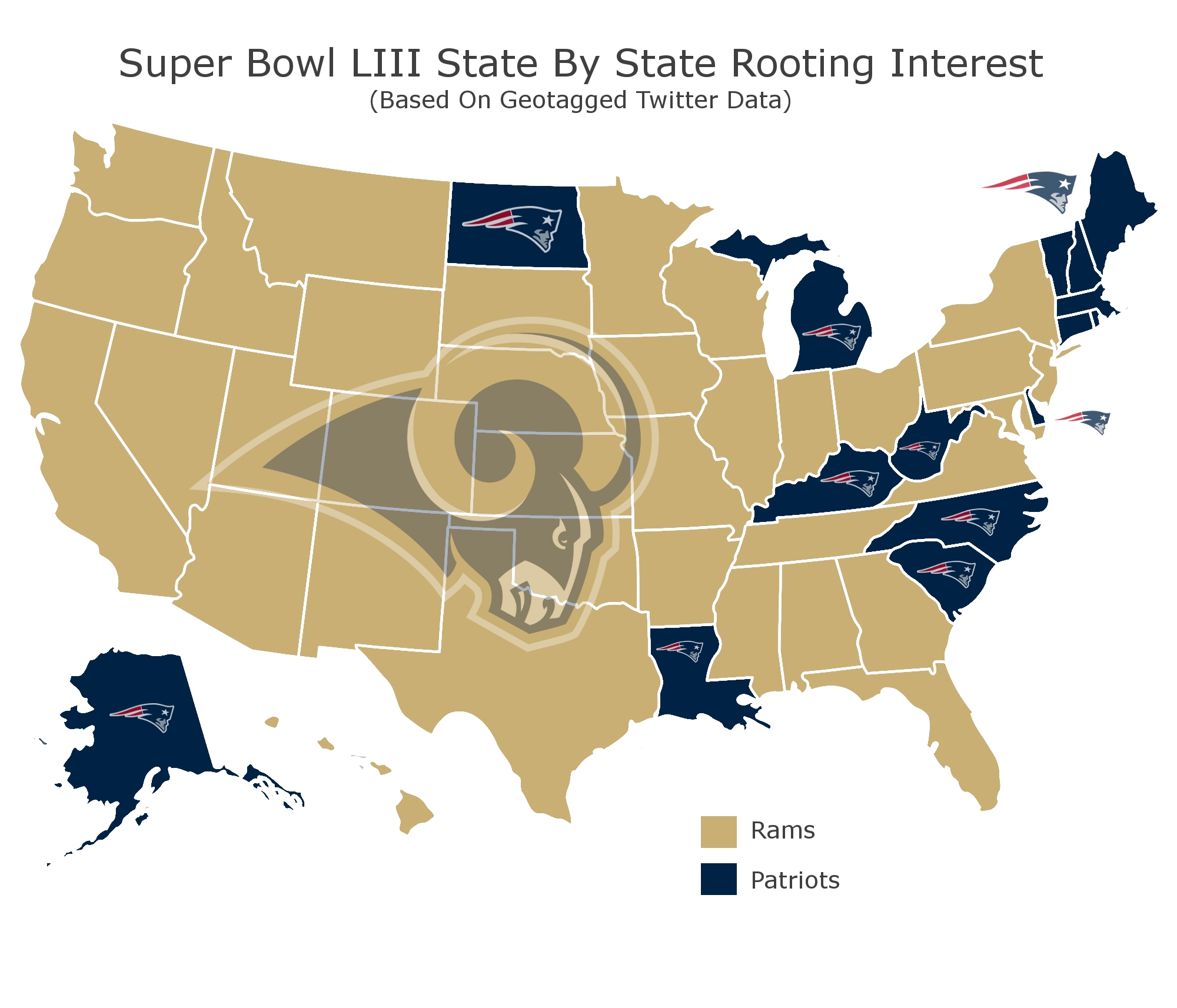Twitter Map Shows America Wants The Patriots To Lose Super in Map Of Superbowl
