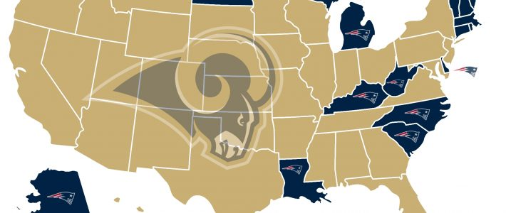 Twitter Map Shows America Wants The Patriots To Lose Super with Super Bowl 2019 Support Map