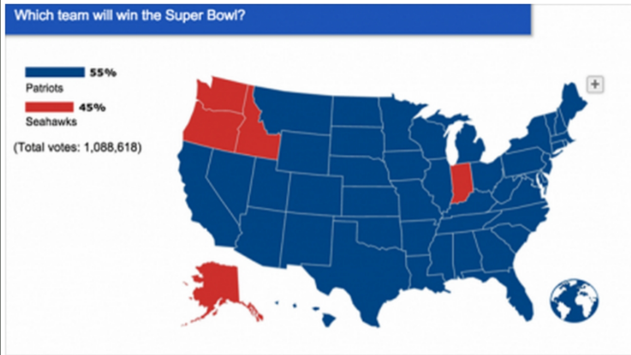 U.s. Map Shows Patriots 'favored' To Win Super Bowl Xlix with Super Bowl Us Map