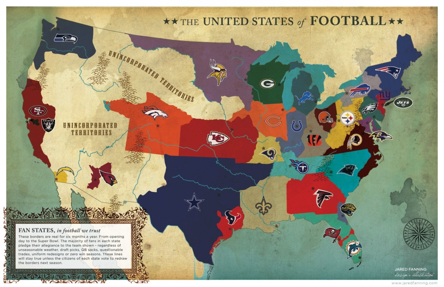 United States Of Football | Visual.ly throughout Us Map Of Super Bowl Fans