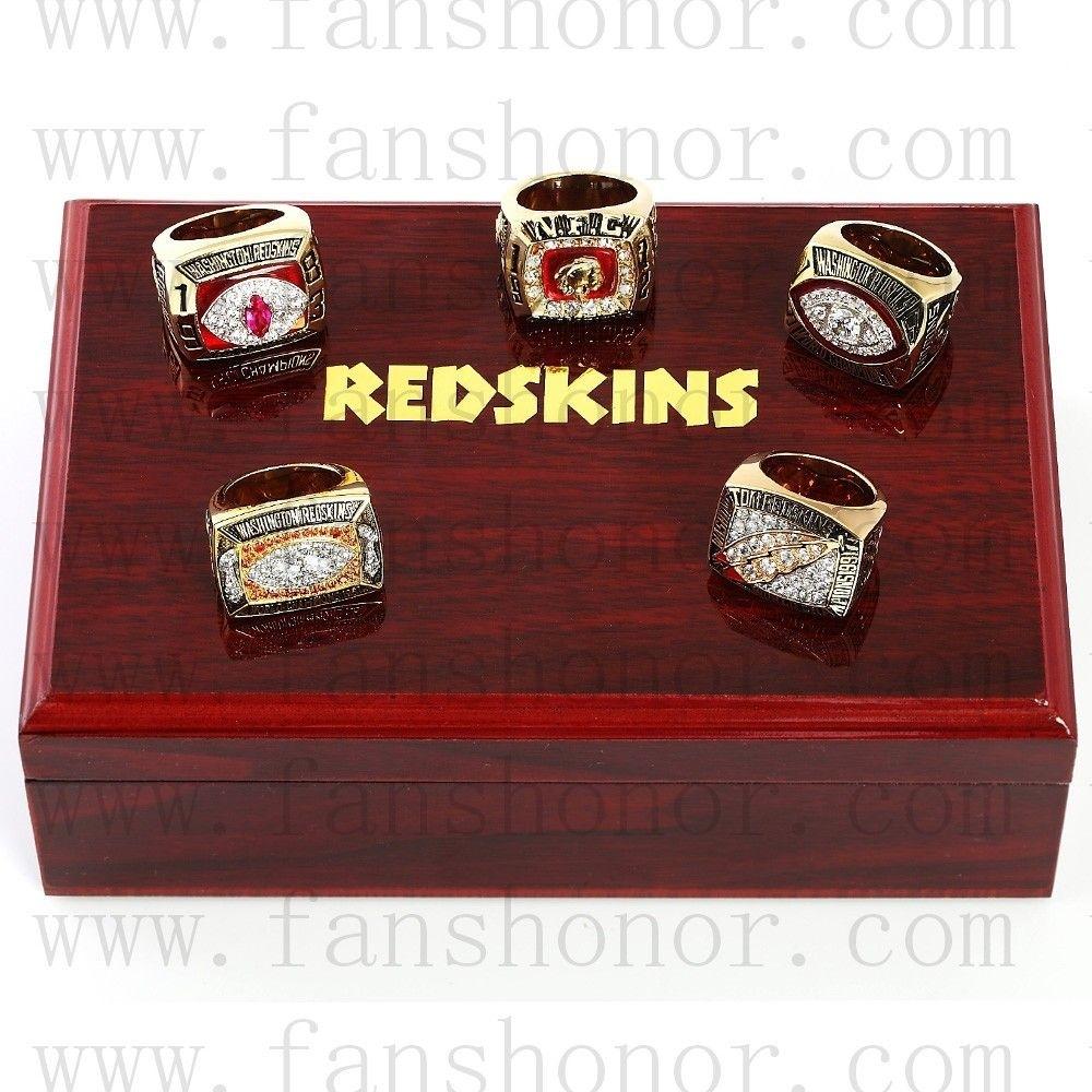 Washington Redskins Nfl Championship Rings Set Wooden within Washington Redskins Nfl Championships 1992