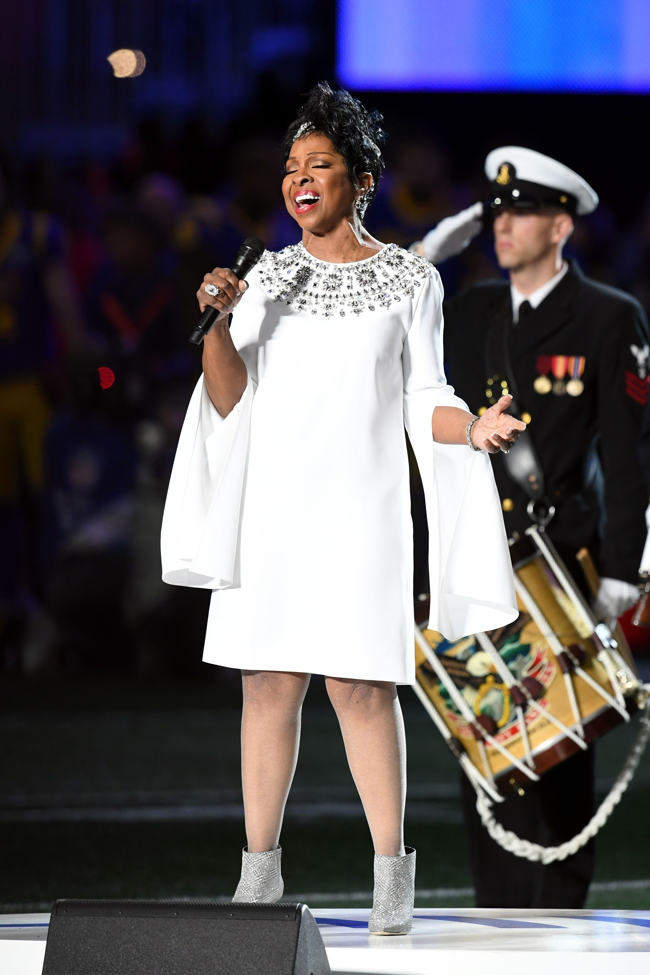 Watch Gladys Knight Sing The National Anthem At The Super in Gladys Knight Super Bowl