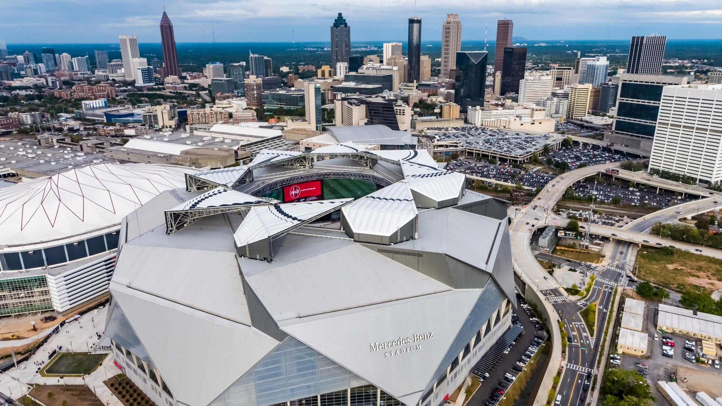 "Watch The Super Bowl 2019 Stadium Roof Close ""like A Camera regarding Super Bowl 2019 Stadium Address"