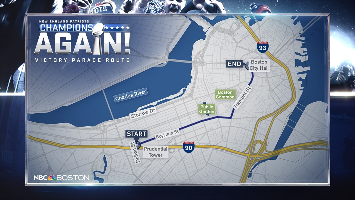 We're Ready, We're Geared Up': Patriots Victory Parade Route with Super Bowl Parade Route Map