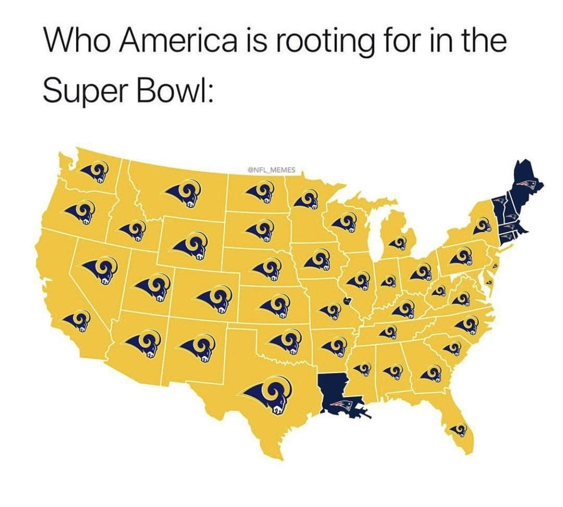Who America Is Rooting For In The Super Bowl : Stlouis in Super Bowl Rooting Map